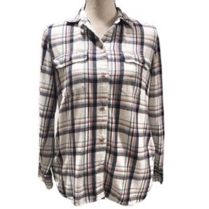 🛑 Madewell White Plaid Flannel Button Down Top Sm